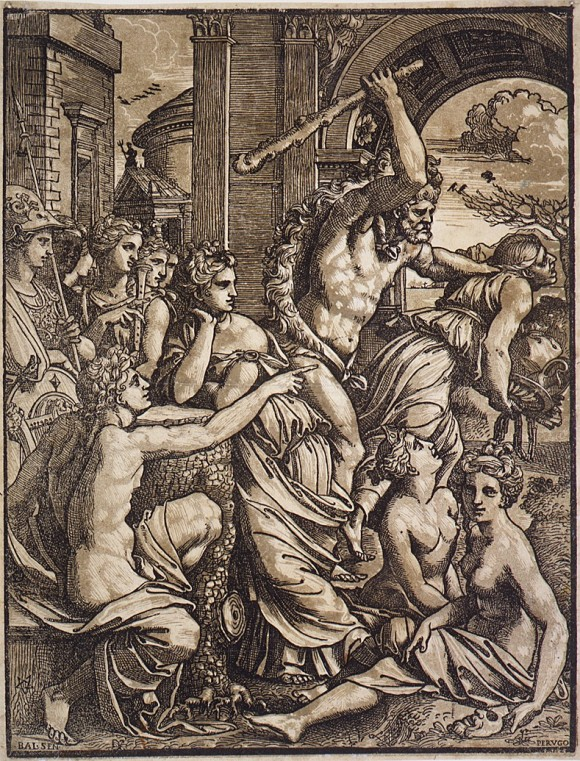 """Hercules chasing Avarice from the Temple of the Muses,"" circa 1510–1530, by Ugo da Carpi."