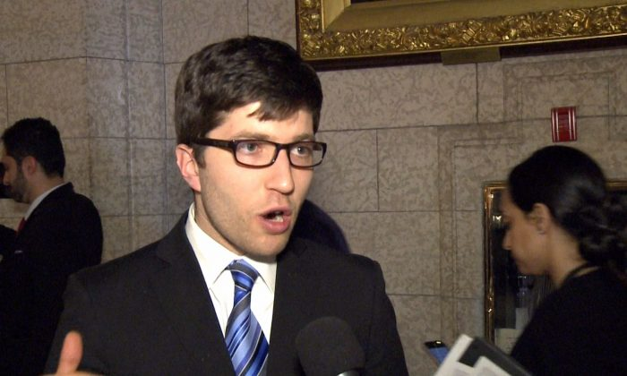 MP Garnett Genuis on Parliament Hill on April 10, 2017. He said he hopes his private member's bill aimed at combating forced organ harvesting in China receives all-party support. (NTD Television)