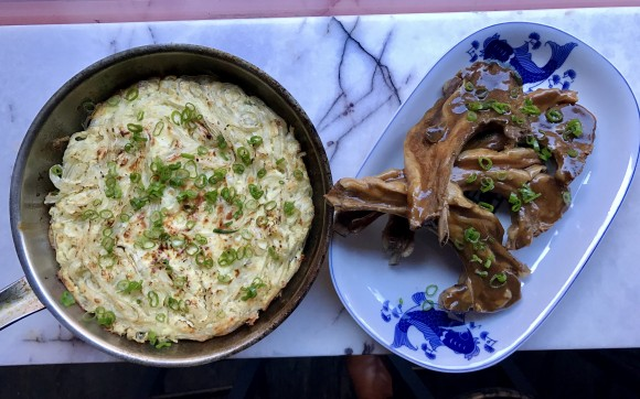 Lo Mein Kugel and Sweet and Sour Lamb. (Courtesy of Fung Tu)