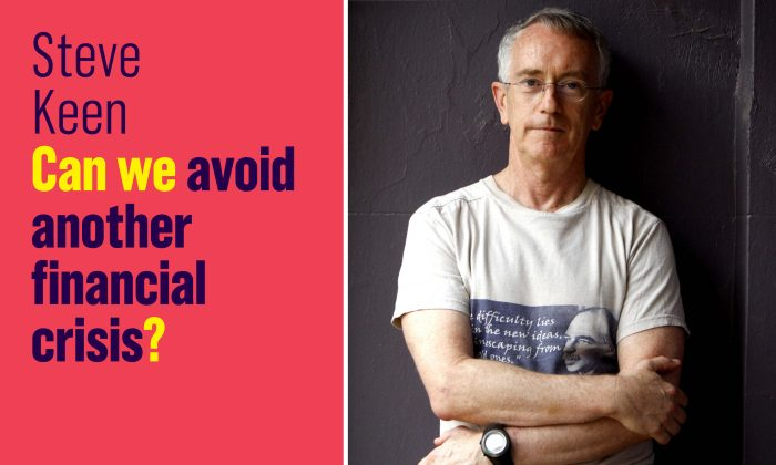 """Steve Keen's new book """"Can We Avoid Another Financial Crisis?"""" and a  picture of the author. (Steve Keen)"""