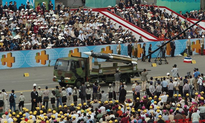 A home-grown supersonic Hsiung-feng 3 (Brave Wind) ship-to-ship missile is displayed during a military parade as part of National Day celebrations in Taipei, Taiwan, on Oct. 10, 2007. (TONY HUANG/AFP/Getty Images)
