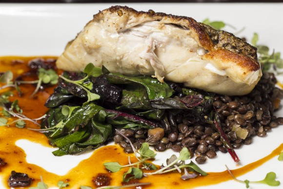 Rockfish with green lentils, Swiss chard, bacon, and sweet and sour sauce. (Annie Wu/Epoch Times)