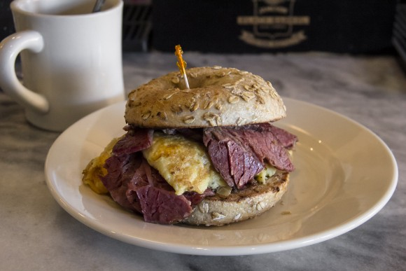 Breakfast Bagel Sammy with corned beef and scrambled eggs at Perly's. (Annie Wu/Epoch Times)