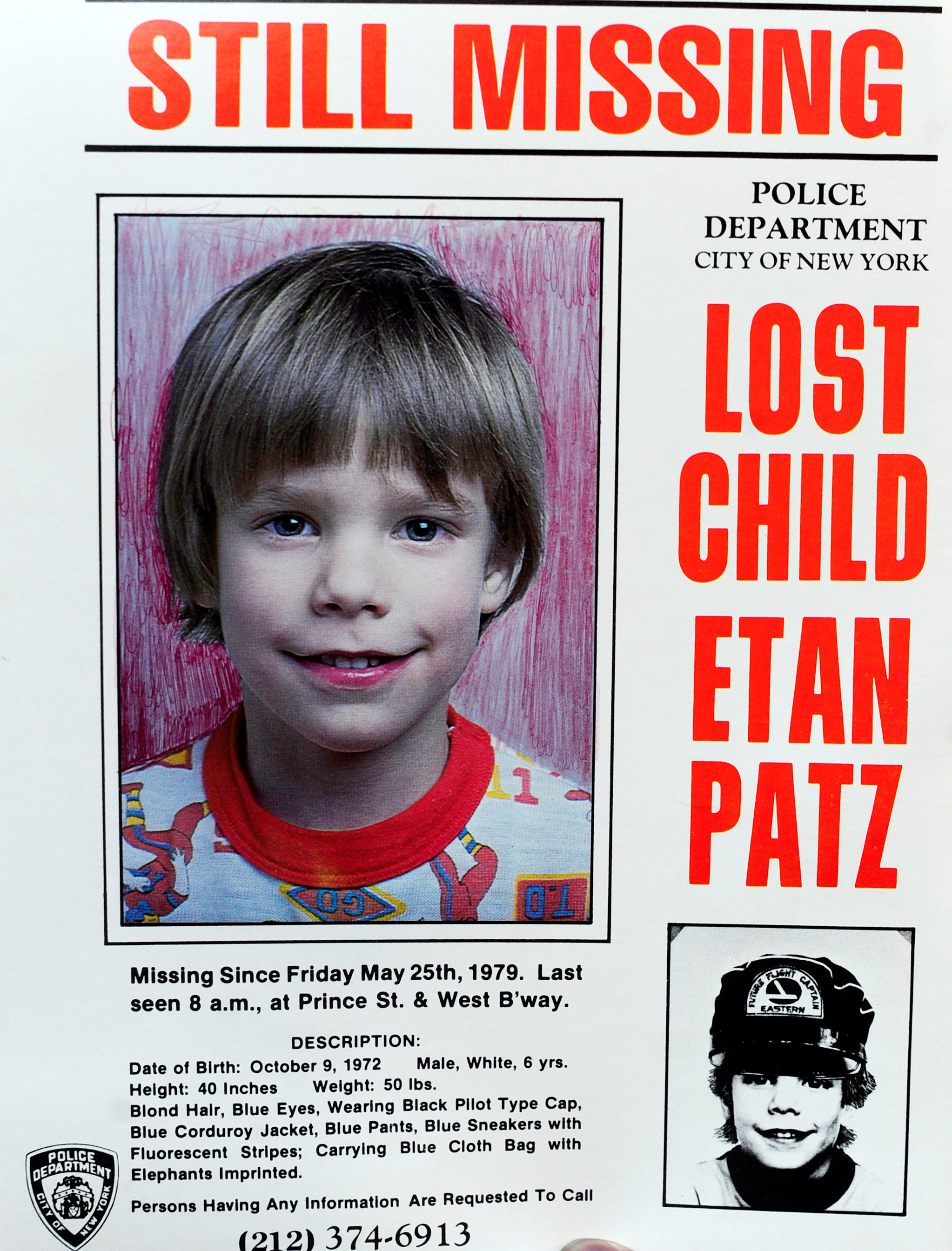 A copy photo of the original missing poster of Etan Patz is shown during a news conference near a New York City apartment building, where police and FBI agents were searching a basement for clues in the boy's 1979 disappearance in New York, on April 19, 2012. (REUTERS/Keith Bedford)