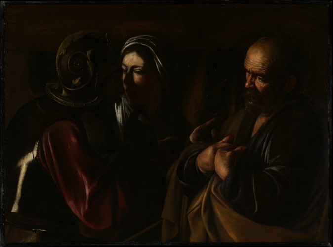 """""""The Denial of Saint Peter,"""" 1610, by Caravaggio (Michelangelo Merisi, Italian 1571–1610). Oil on canvas, gift of Herman and Lila Shickman, and purchase, Lila Acheson Wallace Gift. (The Metropolitan Museum of Art)"""