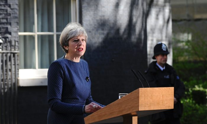British Prime Minister Theresa May speaks to the media outside 10 Downing Street in central London on April 18, 2017. British Prime Minister Theresa May called today for an early general election on June 8 in a surprise announcement as Britain prepares for delicate negotiations on leaving the European Union. (DANIEL SORABJI/AFP/Getty Images)