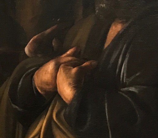"Detail of ""The Denial of Saint Peter,"" 1610, by Caravaggio (Michelangelo Merisi,1571–1610). Oil on canvas, gift of Herman and Lila Shickman, and Purchase, Lila Acheson Wallace gift, 1997. (Milene Fernandez/The Epoch Times)"