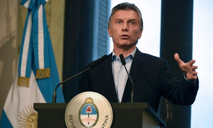 Argentine President Mauricio Macri at the Casa Rosada presidential palace in Buenos Aires on January 17, 2017. After years of socialist mismanagement, his government has to decrease Argentina's tax burden to make the country competitive again. (EITAN ABRAMOVICH/AFP/Getty Images)