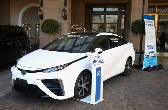 A Toyota Mirai on display at EMA Impact Summit Presented by Toyota Mirai at Montage Beverly Hills in Beverly Hills, California on March 23, 2017. (Joe Scarnici/Getty Images for Toyota Mirai)