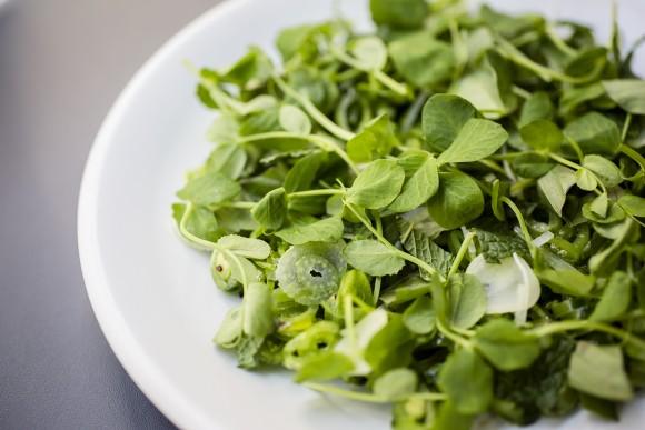 Sugar snap peas, Thai basil, fennel, and mint make for a verdant dish. (Samira Bouaou/The Epoch Times)