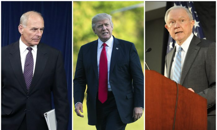 L–R: Homeland Security secretary John Kelly, President Donald Trump, ad Attorney General Jeff Sessions. (Mark Wilson, Kevin Dietsch-Pool, Michael B. Thomas/Getty Images)