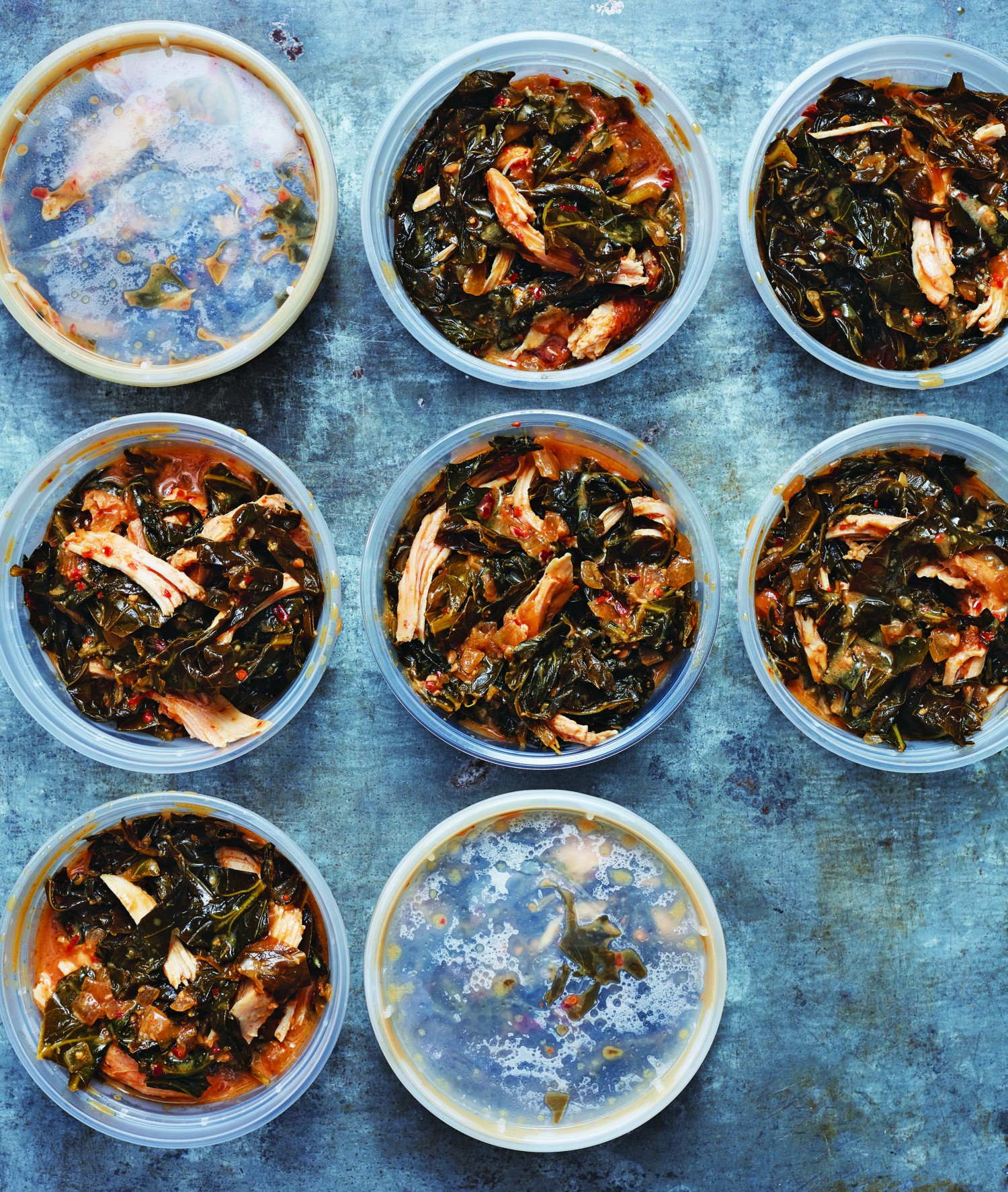 Rice wine vinegar and miso braised collard greens. (Courtesy of Time Inc.)