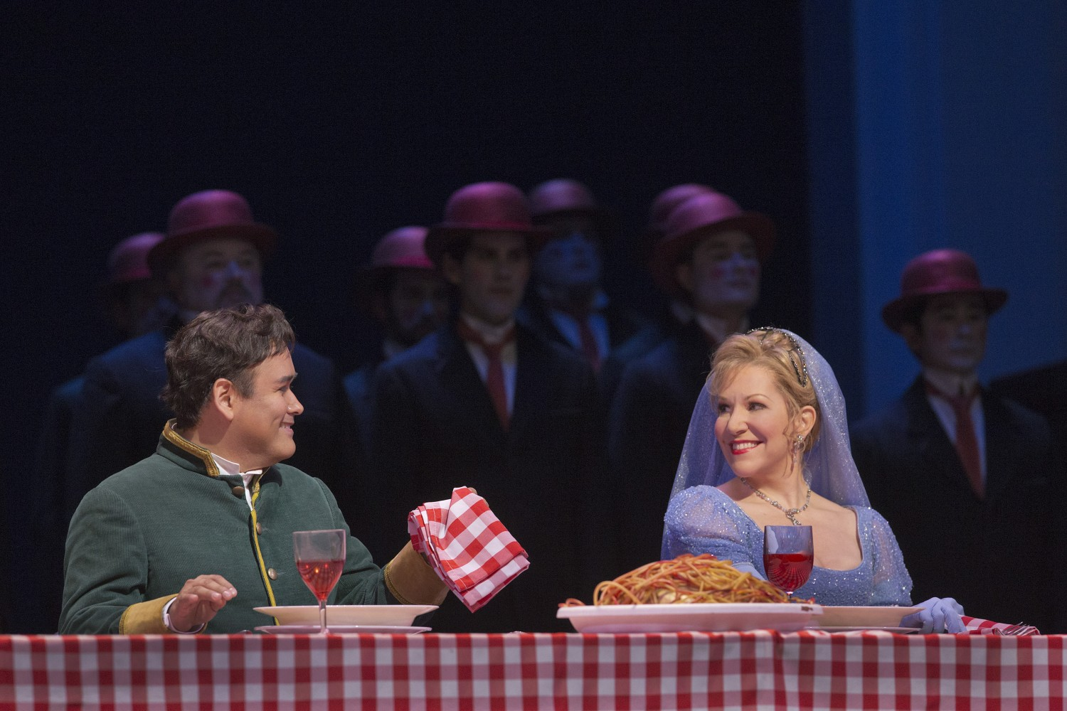 Prince Ramiro (played by Javier Camarena) and Cenerentola (played by Joyce DiDonato) during a 2014 performance of Rossini's