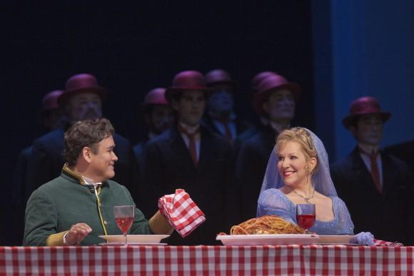"Prince Ramiro (played by Javier Camarena) and Cenerentola (played by Joyce DiDonato) during a 2014 performance of Rossini's ""La Cenerentola"" at the Metropolitan Opera. (Ken Howard/Metropolitan Opera)"