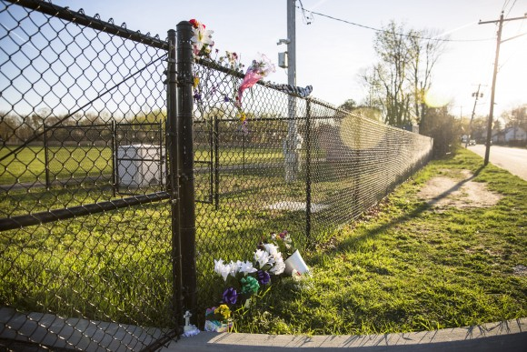 A memorial sprang up at Recreation Village Town Park near where the bodies of four young men were found in Central Islip, N.Y., on April 12, 2017. (Samira Bouaou/The Epoch Times)