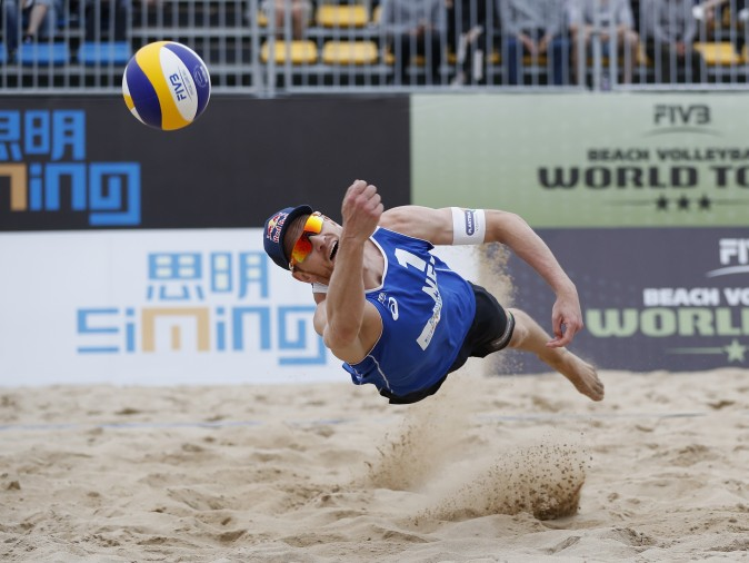 Alexander Brouwer of Netherlands in action at the FIVB Beach Volleyball World Tour Xiamen Open 2017 on in Xiamen, China, on April 23, 2017. (Kevin Lee/Getty Images)