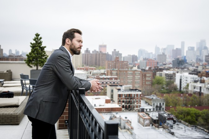 Opera singer Darren Chase on a rooftop in Manhattan, New York, on April 21, 2017. (Samira Bouaou/The Epoch Times)