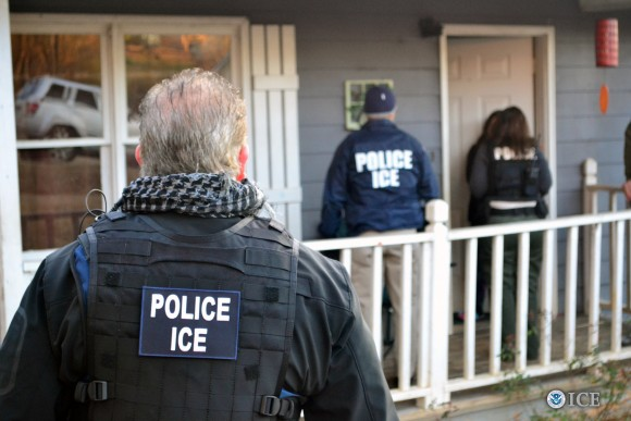 Foreign nationals are being arrested during a targeted enforcement operation conducted by ICE aimed at immigration fugitives, re-entrants, and at-large criminal aliens in Atlanta, Georgia, on Feb. 9, 2017. (ICE)