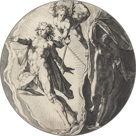 "The First Day (Dies I). If Goltzius's figures are reminiscent of Roman mythology, it is possibly because he had been working on illustrations to Ovid's ""Metamorphoses"" during this time. These were made near the very end of the Renaissance, a period where artists were thought to do God's work. (Public Domain)"