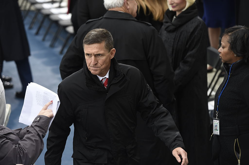 Retired Army Lt. General Michael Flynn arrives for the Presidential Inauguration of Donald Trump at the US Capitol in Washington on Jan. 20, 2017. (Saul Loeb - Pool/Getty Images)