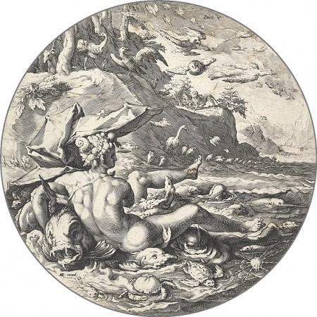 "The Fifth Day (Dies V) If Goltzius's figures are reminiscent of Roman mythology, it is possibly because he had been working on illustrations to Ovid's ""Metamorphoses"" during this time. These were made near the very end of the Renaissance, a period where artists were thought to do God's work. (Public Domain)"