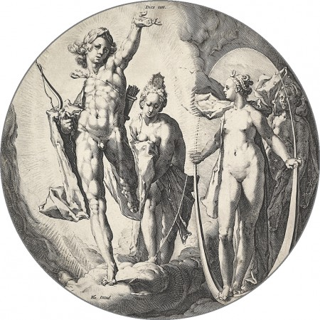 "The Fourth Day (Dies IV). If Goltzius's figures are reminiscent of Roman mythology, it is possibly because he had been working on illustrations to Ovid's ""Metamorphoses"" during this time. These were made near the very end of the Renaissance, a period where artists were thought to do God's work. (Public domain)"