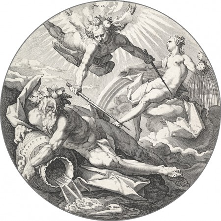 "The Second Day (Dies II). If Goltzius's figures are reminiscent of Roman mythology, it is possibly because he had been working on illustrations to Ovid's ""Metamorphoses"" during this time. These were made near the very end of the Renaissance, a period where artists were thought to do God's work. (Public Domain)"