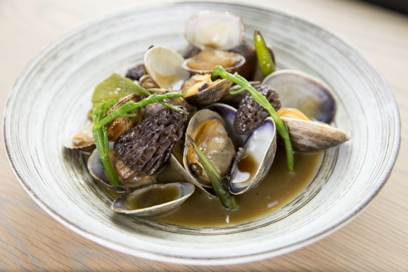 Drunken clams with morels, butterbur sprouts and stems, and other foraged plants, at Adana in Seattle. (Courtesy of Adana)
