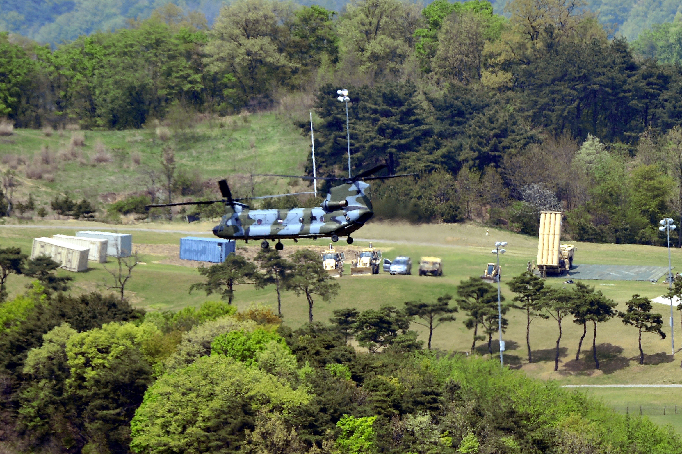 A Terminal High Altitude Area Defense (THAAD) interceptor (R) is seen in Seongju, South Korea on April 26, 2017. (Lee Jong-hyeon/News1 via REUTERS)