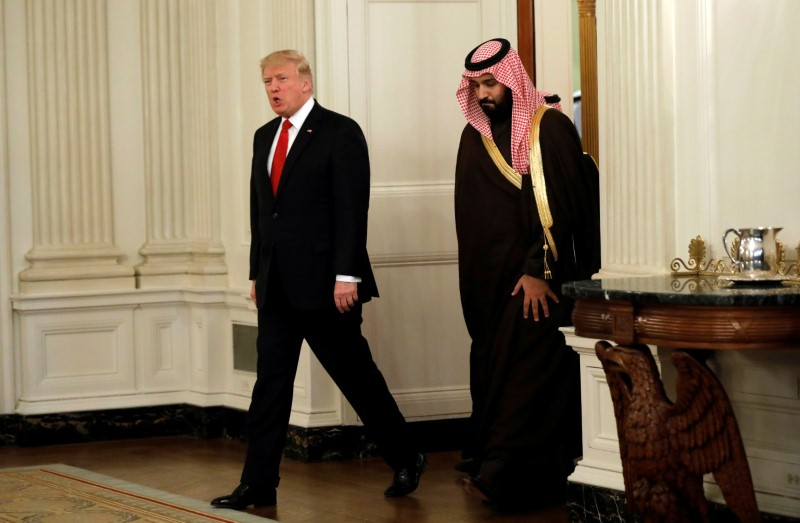 President Donald Trump and Saudi Deputy Crown Prince and Minister of Defense Mohammed bin Salman enter the State Dining Room of the White House in Washington on March 14, 2017. (REUTERS/Kevin Lamarque)