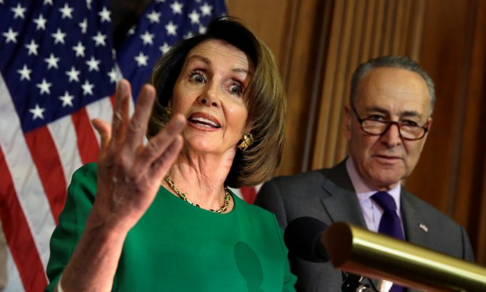 House Minority Leader Nancy Pelosi (D-Calif.) next to Senate Minority Leader Chuck Schumer (D-N.Y.) during a news conference on President Trump's first 100 days in Washington on April 28, 2017. (Reuters/Yuri Gripas)
