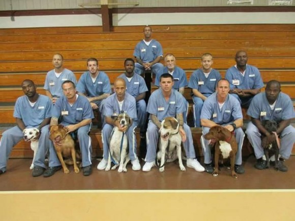 A prison inmates, TAILS program participants, with their dogs.  (Courtesy of Craig O'Neal)