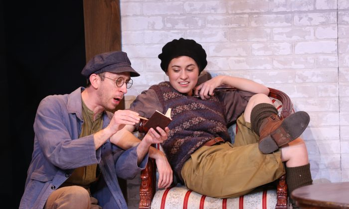 """(L–R) Steven Blakeley and Emily Laing in J.B. Priestley's """"The Roundabout,"""" Carol Rosegg/Brits Off Broadway at 59E59 Theaters)"""