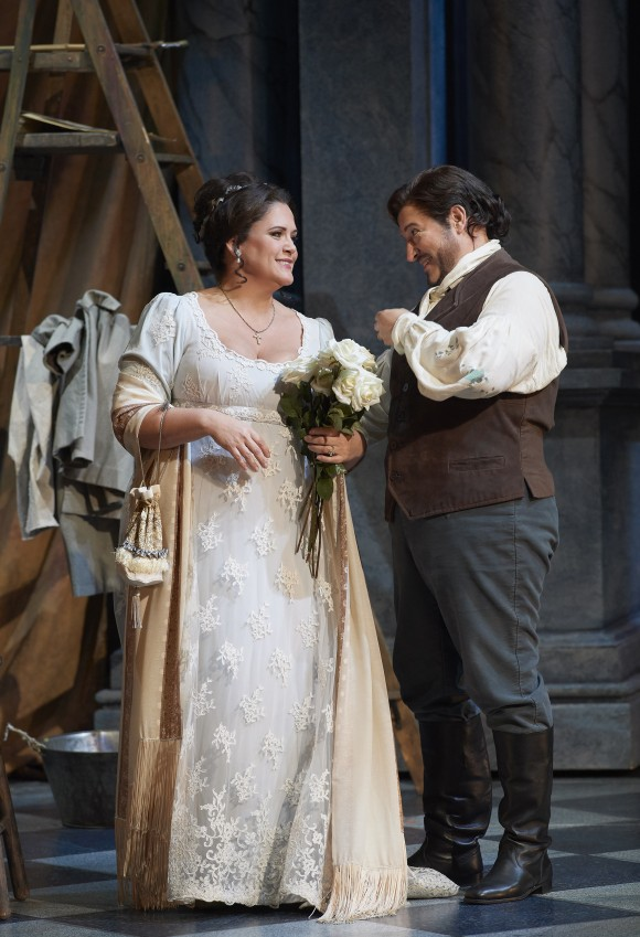 "Keri Alkema as Tosca and Kamen Chanev as Cavaradossi in the Canadian Opera Company's production of ""Tosca,"" 2017. (Michael Cooper)"