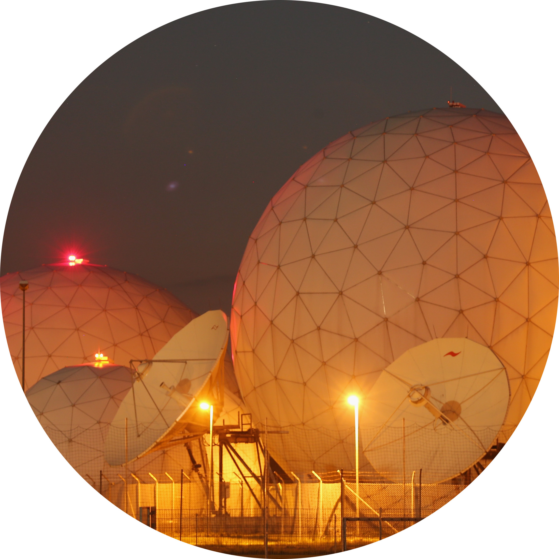 Radomes of the digital communications listening station of the Bundesnachrichtendienst (BND), the German intelligence agency, stand at night in Bad Aibling, Germany on June 2, 2015.(Sean Gallup/Getty Images)