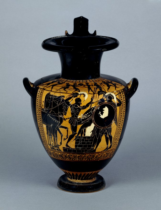 Hydria with Achilles Slaying Troilos
