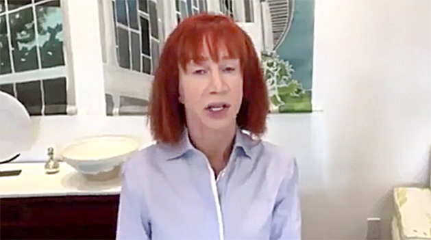 TV host Kathy Griffin apologizes on May 31 for a photo in which she held a prop of a bloody, decapitated head resembling President Donald Trump.