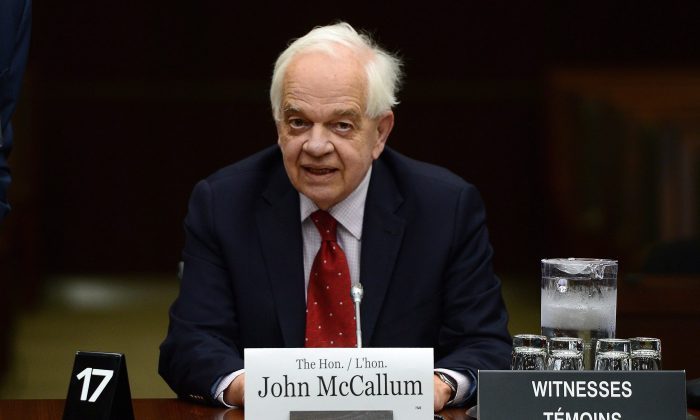 John McCallum, Canada's Ambassador to the People's Republic of China, at a meeting of the House of Commons Standing Committee on Foreign Affairs and International Development in Ottawa on May 2, 2017. (The Canadian Press/Sean Kilpatrick)