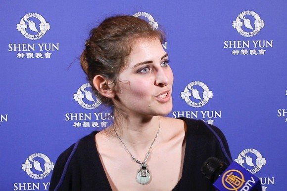Charlène Belhasen attended the Shen Yun's opening night in Paris on April 21, 2017. (NTD Television)
