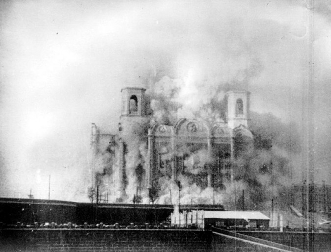 In this 1931 photo, The Church of Christ the Savior in Moscow is demolished to make way for the Palace of the Soviets. The church was rebuilt after the collapse of the Soviet Union. (Public Domain)