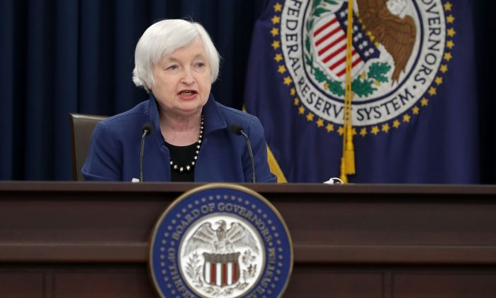 U.S. Federal Reserve Board chair Janet Yellen holds a news conference on March 15, 2017 in Washington, D.C. The Fed kept rates unchanged on May 3. (Chip Somodevilla/Getty Images)