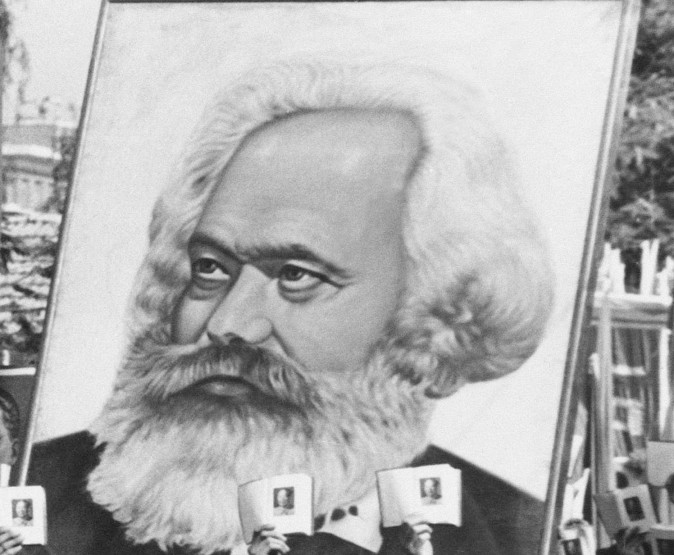 Poster of Karl Marx in a Chinese rally in 1966. (AP Photo, File)