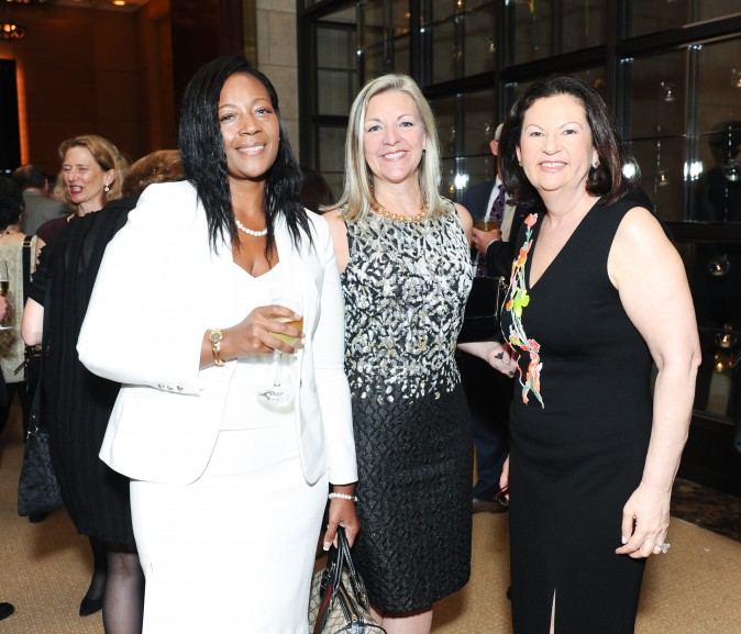 Darnella Banks, Candace Adams, Ellie Johnson at the celebration of the opening of Berkshire Hathaway HomeServices New York Properties hosted at the Four Seasons Hotel New York on April 26, 2017. (Courtesy of Rommel Demano for BFA)