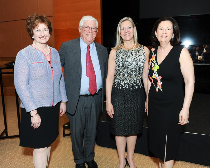Doyle Auctions, Kathleen Doyle, Former Lt Governer of New York, Richard Ravitch, Ellie Johnson, and Candace Adams at the celebration of the opening of Berkshire Hathaway HomeServices New York Properties hosted at the Four Seasons Hotel New York on April 26, 2017. (Courtesy of Rommel Demano for BFA)