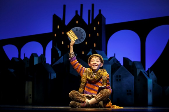 Charlie Bucket (Ryan Foust) as the endearing boy who loves all things chocolate. (Joan Marcus)