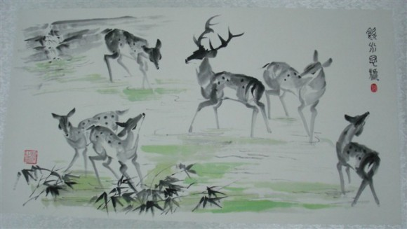 Chinese painting of a group of Deer. (Courtesy of Qiu Yan)
