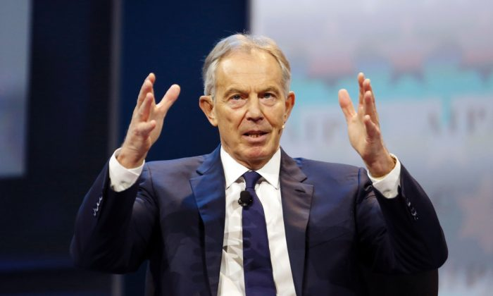 Former British Prime Minister Tony Blair in Washington on March 26. (ANDREW BIRAJ/AFP/Getty Images)