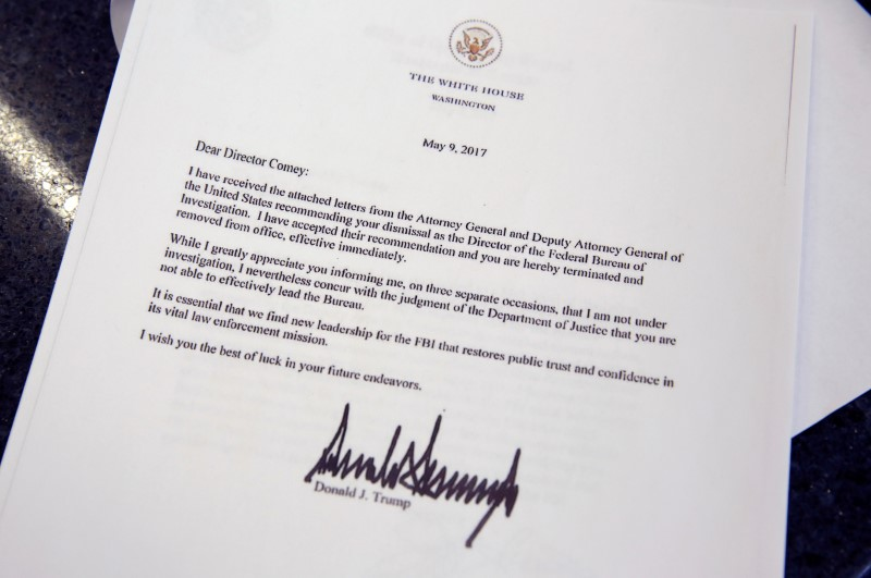 This picture shows a copy of the letter by President Trump firing Director of the FBI James Comey at the White House. (REUTERS/Joshua Roberts)