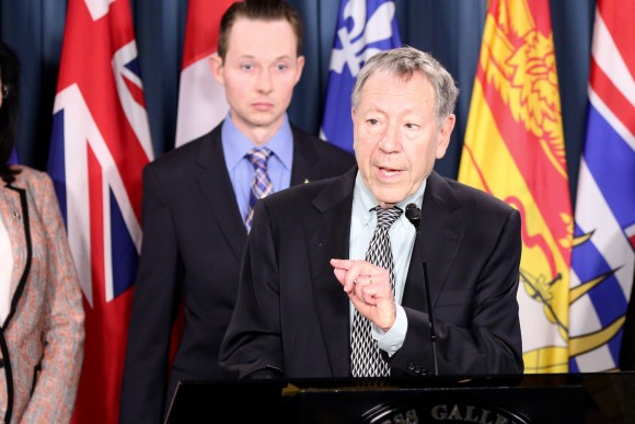 Former MP and justice minister Irwin Cotler speaks at a press conference in support of efforts to secure the release of Canadian citizen Qian Sun detained in China for her practice of Falun Gong, on Parliament Hill in Ottawa on May 9, 2017. (Jonathan Ren/NTD Television)