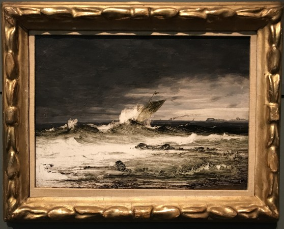 """Seascape,"" 1860s, by Peder Balke. Oil on canvas, mounted on cardboard, lent by Asbjorn Lunde. (Milene Fernandez/The Epoch Times)"